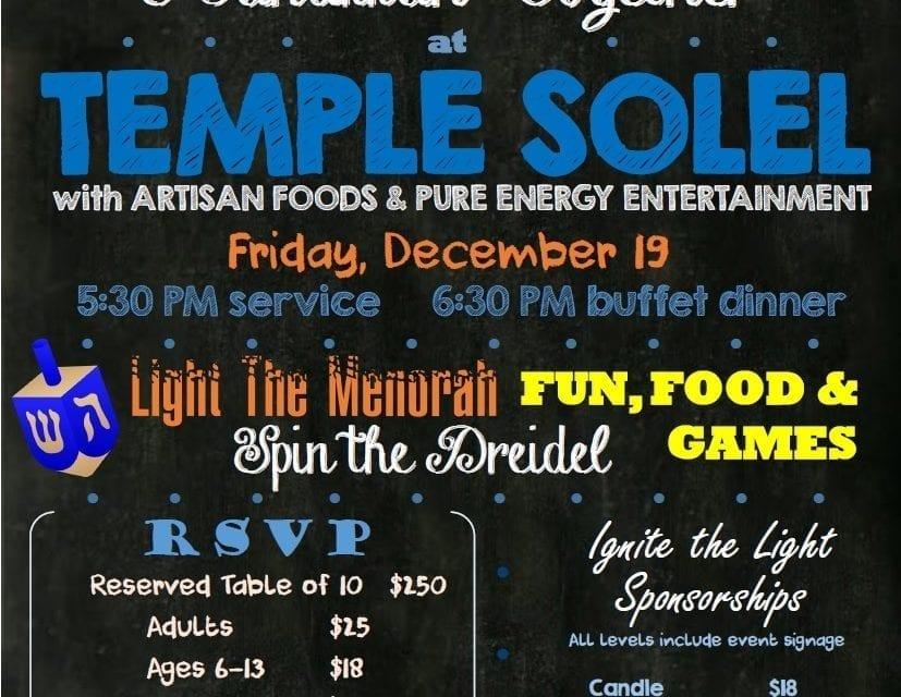 Temple Solel's annual Hanukkah celebration set for Dec. 19th