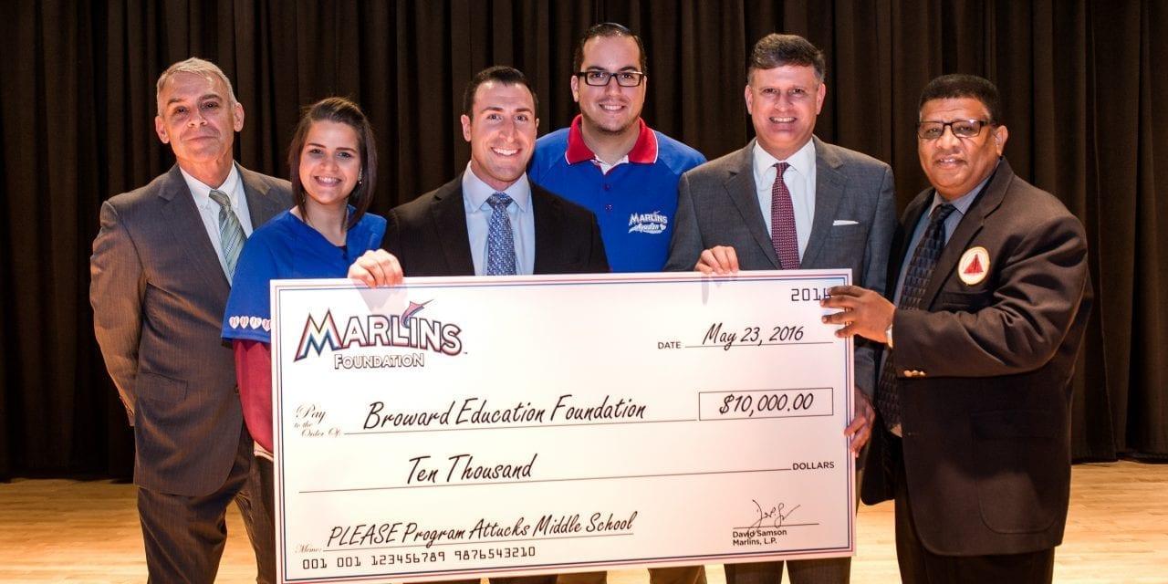 Marlins Foundation and Broward Education Foundation team up for the PLEASE life skills program at Attucks Middle School