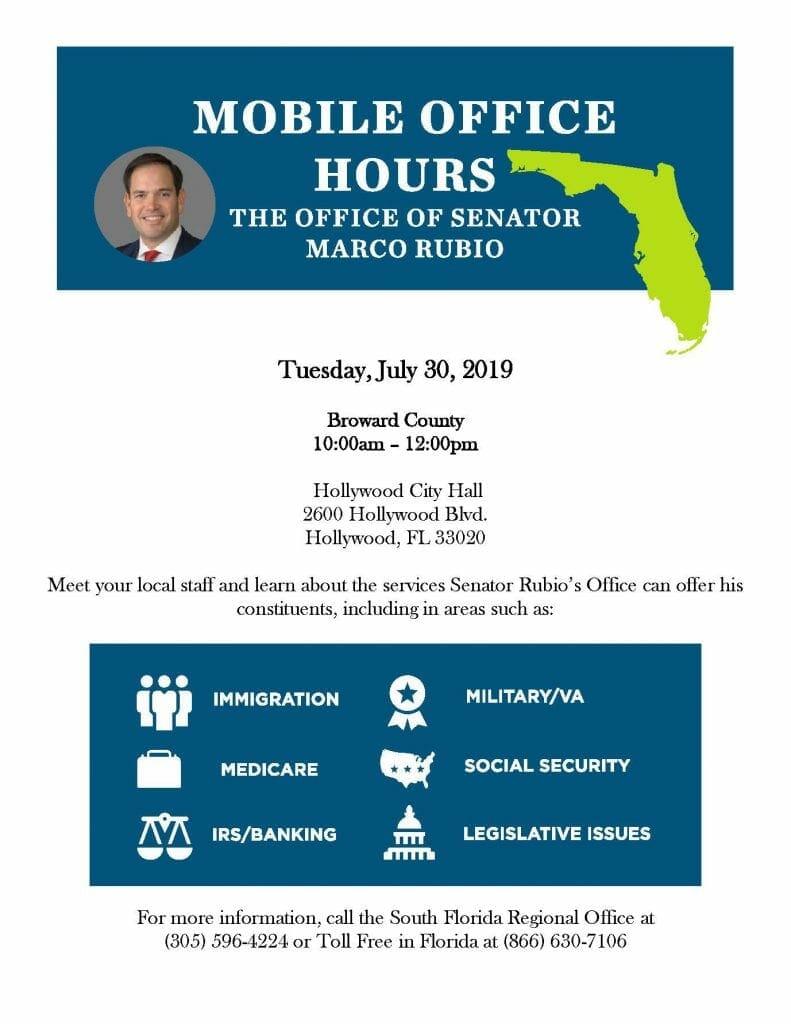 Sen. marco rubio staff hosts mobile office hours